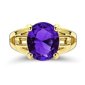 Purple Amethyst 18KT yellow Gold Filled Ring